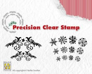 Precision Clearstamp Flowerswirls-Snowflakes