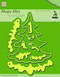 Shape dies christmas tree with birds