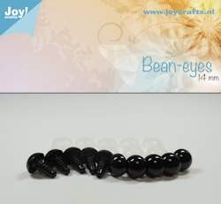 Bean eye, black 14 mm 10 pcs