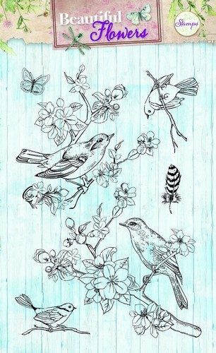 Beautiful flowers: clearstamp vogels