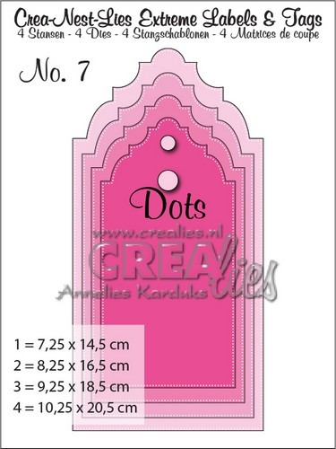 Crealies Crea-nest-lies Extreme labels&tags no 7 with dots