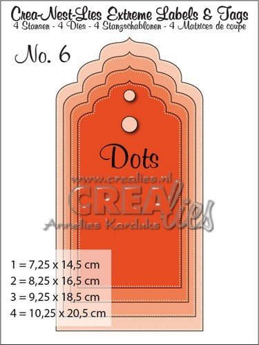 Crealies Crea-nest-lies Extreme labels&tags no 6 with dots