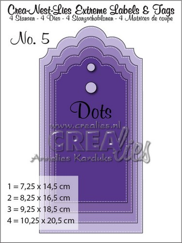 Crealies Crea-nest-lies Extreme labels&tags no 5 with dots