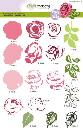 Craft Emotions Clearstamp step by step rose