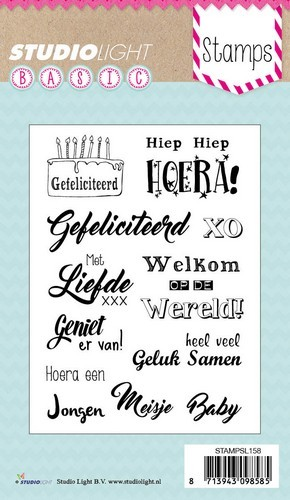 Studio Light Clearstempel A6 Basic Felicitatie teksten