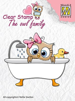 Clearstamp the owl Family: Taking a bath