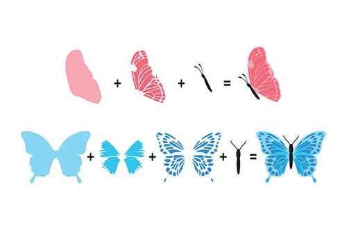 3D clearstamp: butterflies