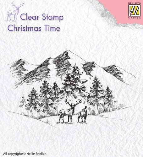Clearstamp : winterlanscape with deer