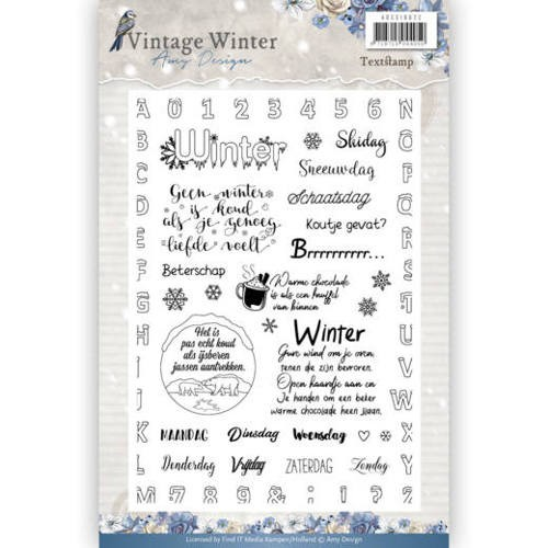 Vintage Winter Clearstamp tekst NL