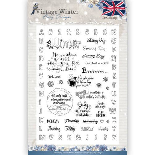 Vintage Winter Clearstamp tekst Engels