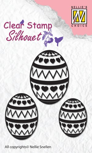 Clear stamp silhouet: Easter Eggs