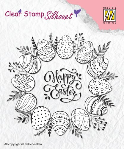 Clear stamp silhouet: Happy Easter