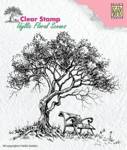 Clearstamp Idyllic floral scenes tree with bench