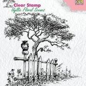 Clearstamp Idyllic floral scenes tree with fence
