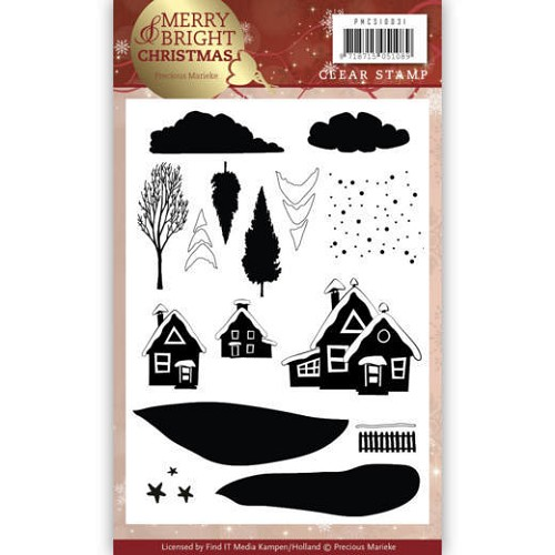 Merry & Bright christmas: Clearstamp dorp
