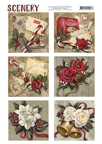 Die Cut Topper - Scenery - Christmas roses  Card Deco