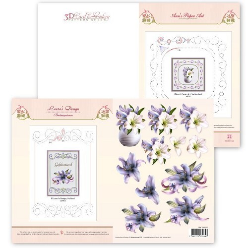 3D Card Embroidery Pattern Sheet #22 with Ann & Laura  Ann`s Paper Art