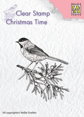 Clearstamp Christmas Time: Conifer branch with bird