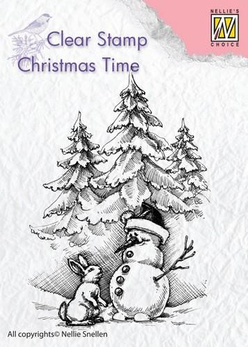 Clearstamp Christmas Time: Snowman and rabbit