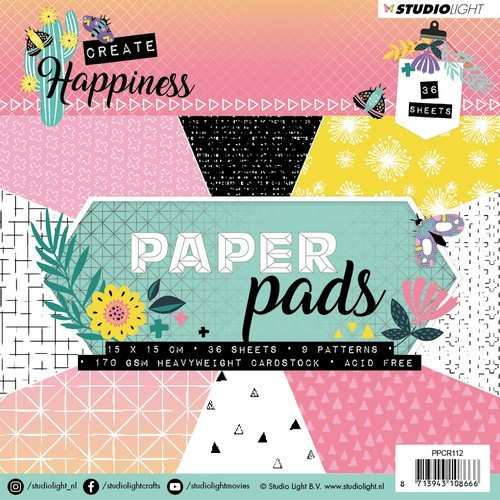 Studio Light Paper Pad 36 vel Create Happiness nr 112 PPCR112 15x15cm