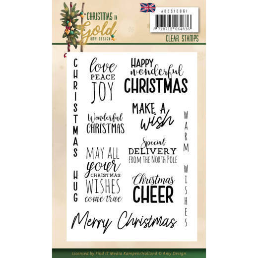 Christmas in Gold: Clearstamp Text engels