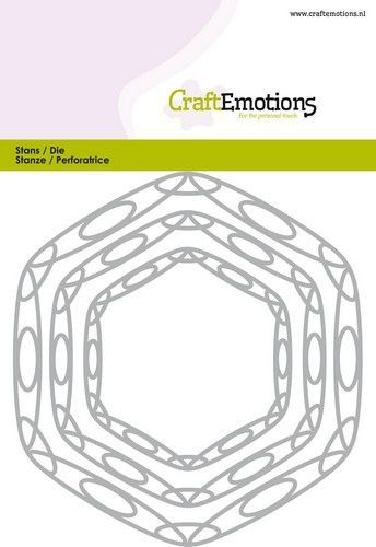 CraftEmotions Die - frames art hexagon Card 10,5x14,8cm - 6,5 - 11cm
