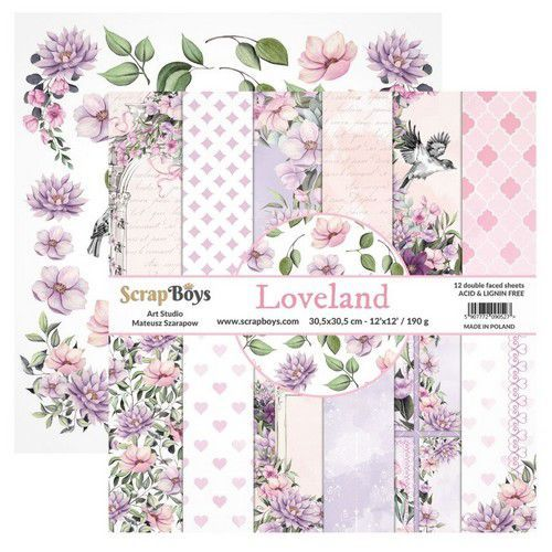 ScrapBoys Loveland paperset 12 vl+cut out elements