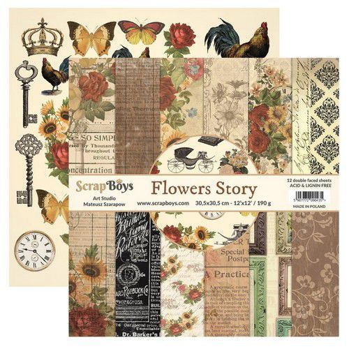 ScrapBoys Flowers story paperset 12 vl+cut out elements