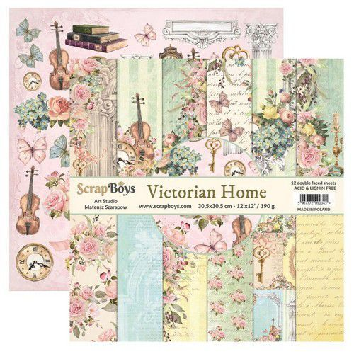 ScrapBoys: Victorian Home paperset 12 vl+cut out elements