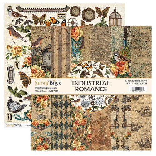 ScrapBoys: Industrial Romance paperset 12 vl+cut out elements