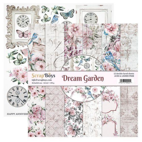 ScrapBoys: Dream garden paperset 12 vl+cut out elements
