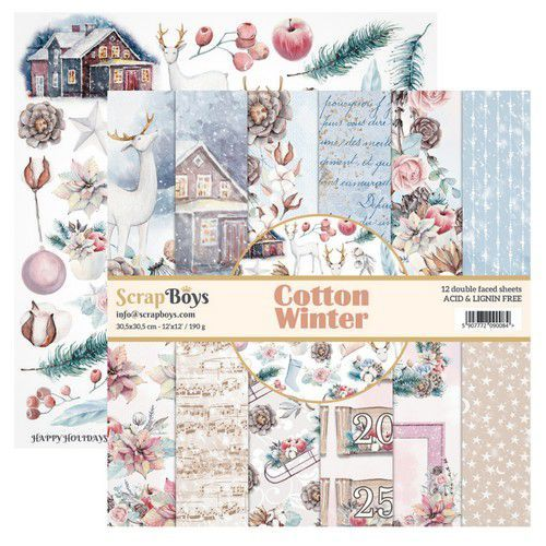 ScrapBoys: Cotton Winterpaperset 12 vl+cut out elements