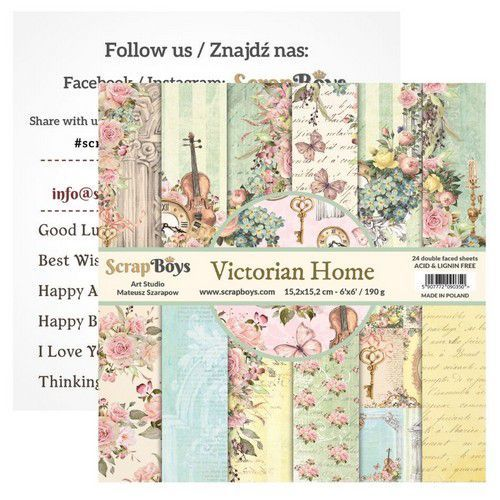 ScrapBoys Victorian Home paperpad 24 vl+cut out elements-DZ VIHO-09 190gr 15,2cmx15,2cm