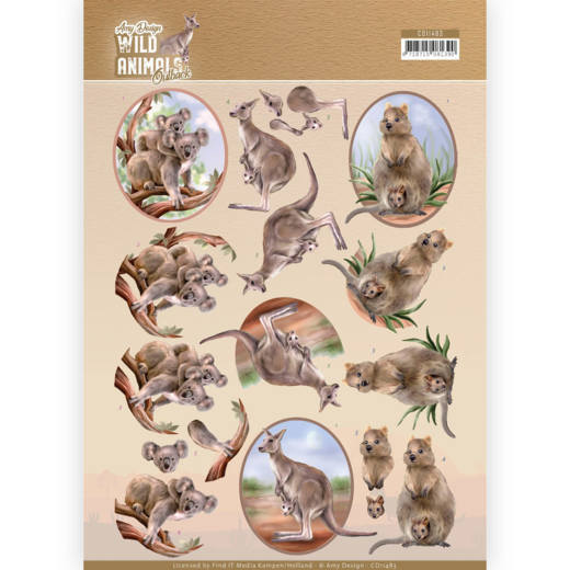 3D Cutting sheet - Amy Design - Wild Animals Outback - Kangaroo