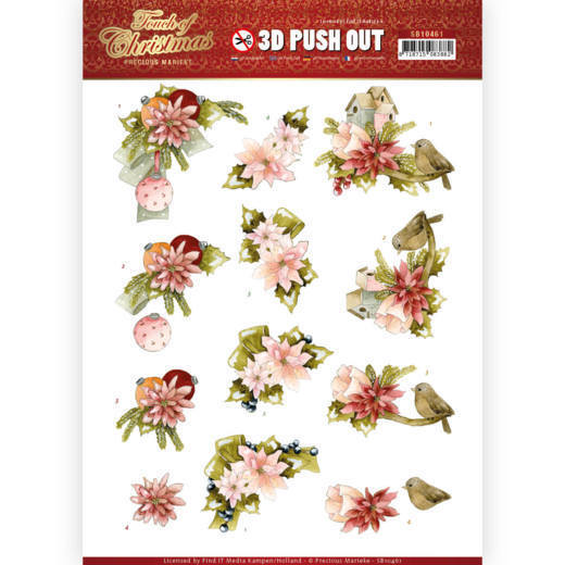 3D Push Out - Precious Marieke - Touch of Christmas - Pink Flowers