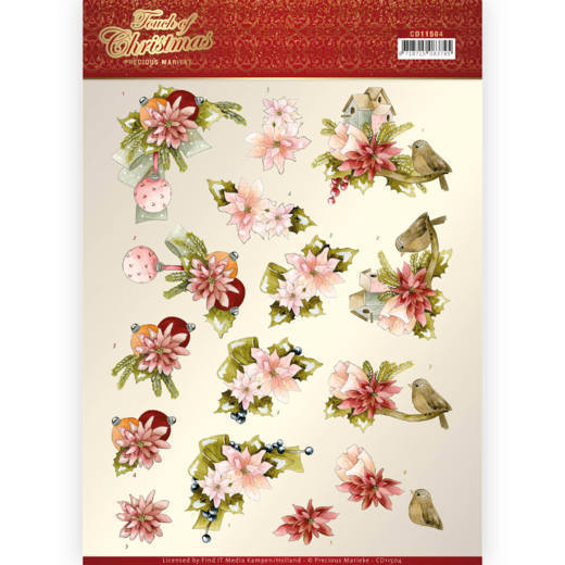3D cutting sheet - Precious Marieke - Touch of Christmas - Pink Flowers