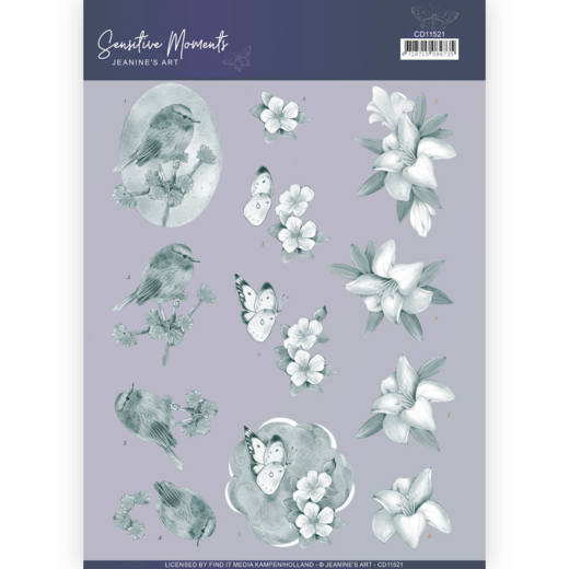 3D Cutting Sheet - Jeanine's Art - Sensitive Moments - Grey Lily