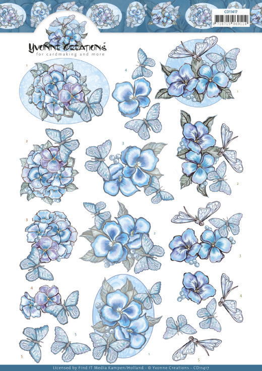 3D cutting sheet - Yvonne Creations - Blue Butterflies