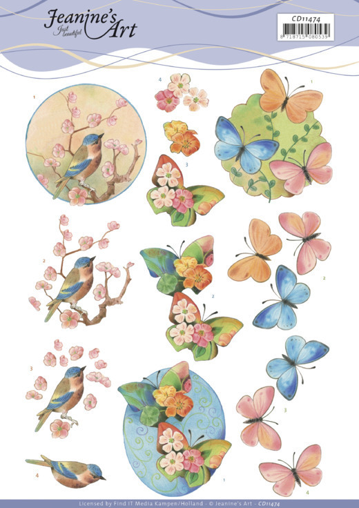 3D Cutting Sheet - Jeanine's Art - Birds and blossom