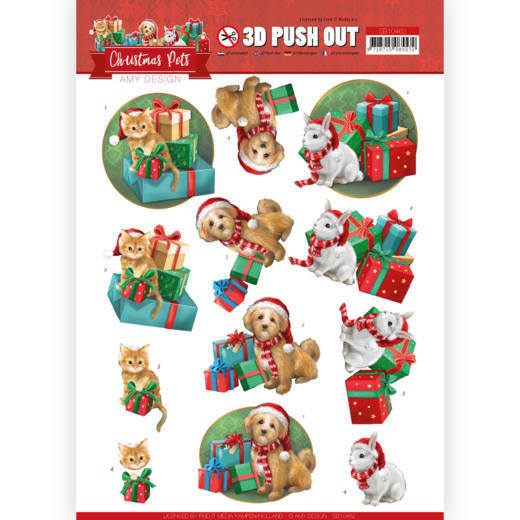 3D Push Out - Amy Design - Christmas Pets - Presents