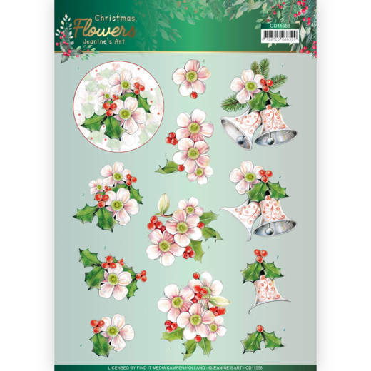 3D cutting sheet - Jeanines Art  Christmas Flowers - Pink Christmas Flowers