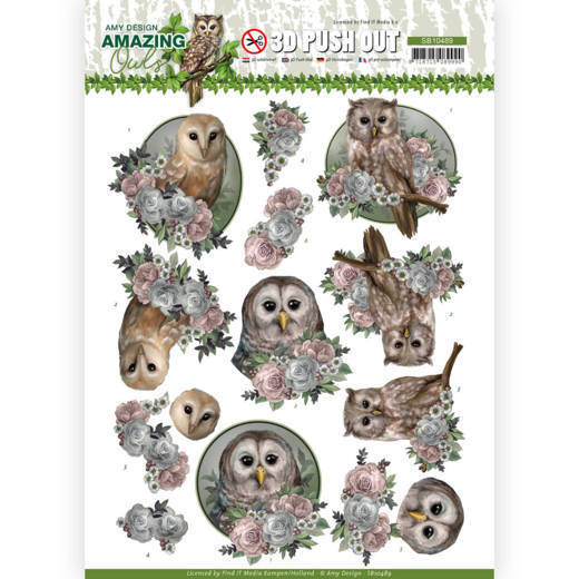3D Push Out - Amy Design - Amazing Owls - Romantic Owls