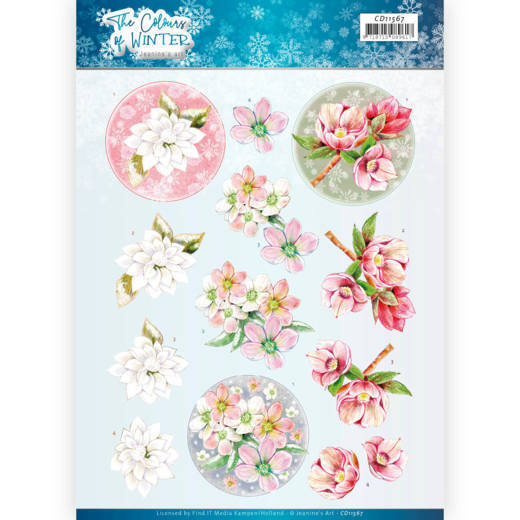 3D Cutting Sheet - Jeanine's Art - The colours of winter - Red winter flowers
