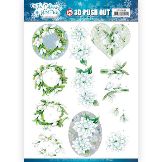3D Push Out - Jeanine's Art - The colours of winter - White winter flowers