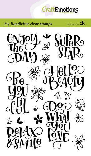 CraftEmotions clearstamps A6 - handletter - Enjoy the day - Super star Carla Kamphuis