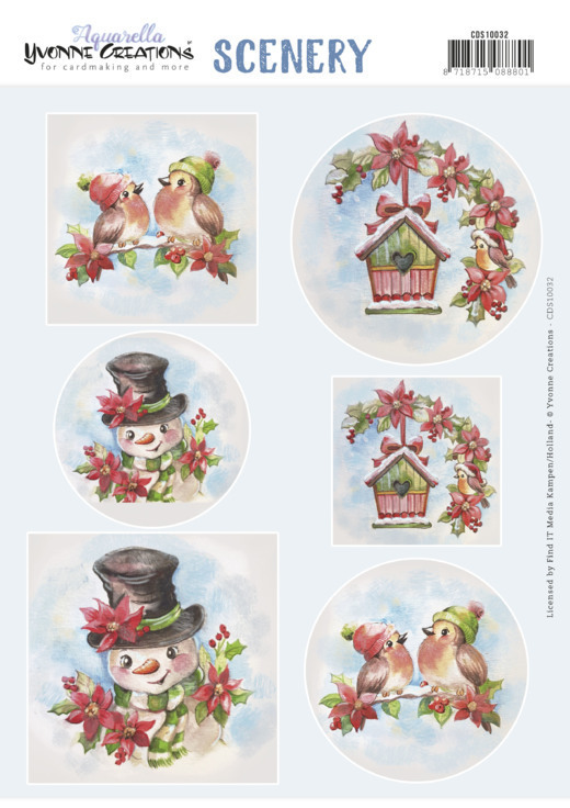 Push Out Scenery - Yvonne Creations - Aquarella - Christmas Birds