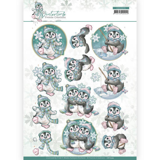 3D cutting sheet - Yvonne Creations - Winter Time - Penguin