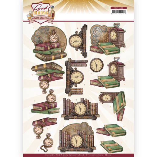 3D cutting sheet - Yvonne Creations - Good old day's - Clock