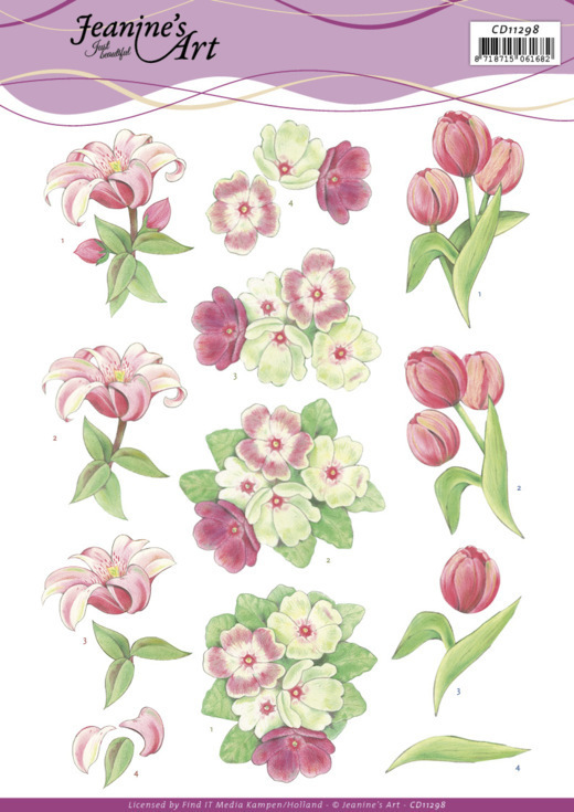 3D Cutting Sheet - Jeanine's Art - Red Flowers