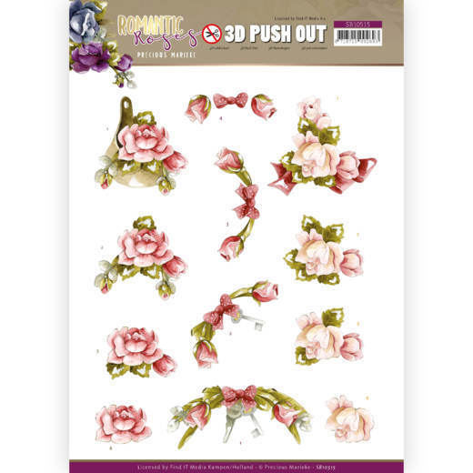3D Push Out - Precious Marieke - Romantic Roses - Pink Rose